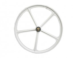 WHITE REAR WHEEL WITH 5 SPOKES