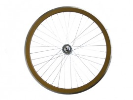 METALLIC BROWN FIXIE FRONT WHEEL
