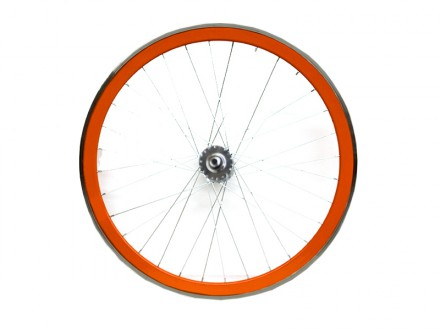 ORANGE FIXIE FRONT WHEEL